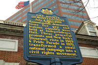 Gay Pioneers Historical marker at Independence Mall